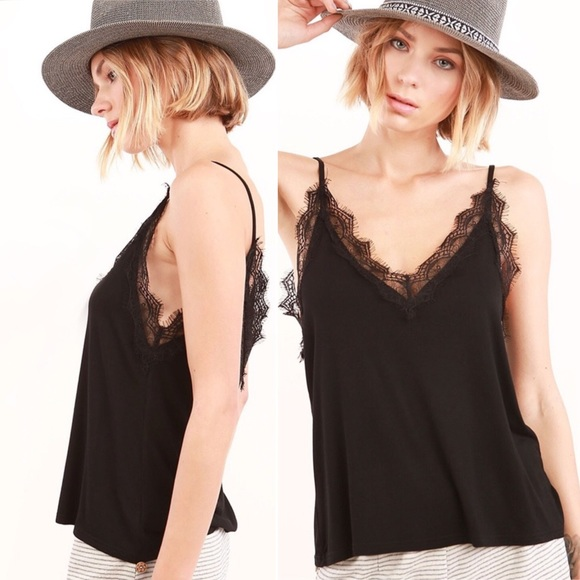 72df225378f Tops | Eyelash Lace Black Cami Top Lace Trim Camisole | Poshmark
